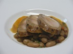 """polyface chicken served with """"scritti di lucca"""" beans and butternut puree"""
